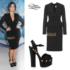 Demi Lovato: Fringe Trim Peplum Dress