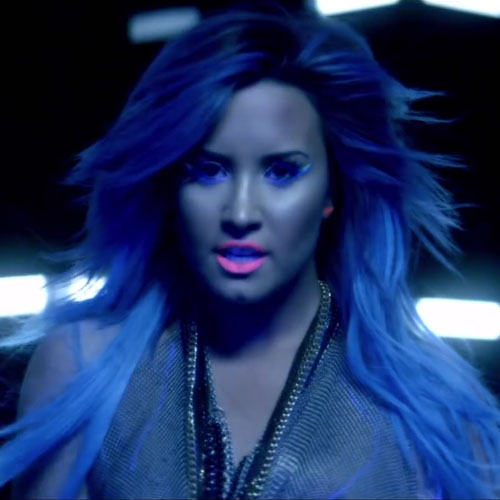 Demi Lovato Straight Blue Angled Hairstyle   Steal Her Style
