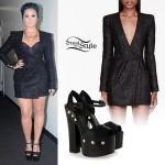 Demi Lovato: Sparkly Dress, Platform Heels