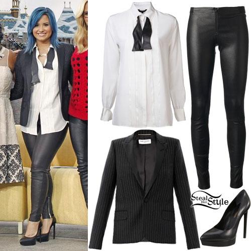 Demi Lovato: Bow-Tie Blouse, Leather Pants