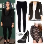 Demi Lovato: Velvet Trim Blazer Outfit