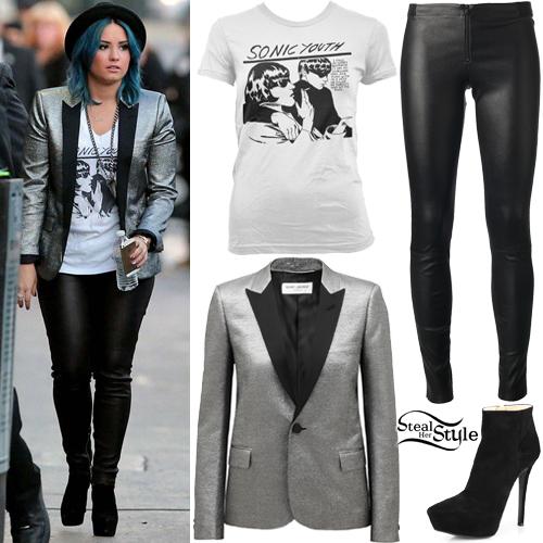 demi lovato graphic tee metallic blazer steal her style