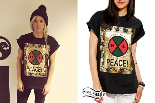 Ellie Goulding: Gold Foil Peace T-Shirt