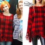 Hayley Williams: Ripped Plaid Sweater
