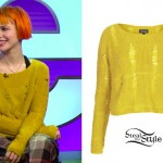 Hayley Williams: Ripped Yellow Sweater