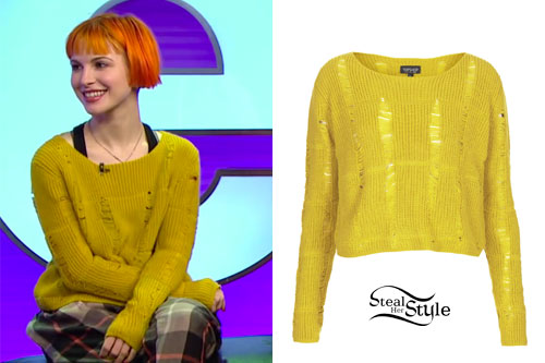 Hayley Williams: Ripped Green Sweater | Steal Her Style