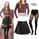 Jacqui Sandell: Plaid Crop Top, Leather Skirt