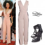 Leigh-Anne Pinnock: Nude Jumpsuit Outfit