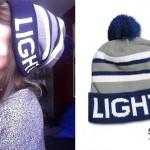 LIGHTS: Blue & Gray Striped Beanie