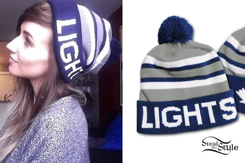 LIGHTS: Blue & Gray Striped Beanie