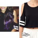 Madison Beer: Cold Shoulder Athletic Tee