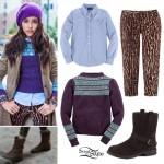 Madison Beer: Purple Sweater, Leopard Jeans