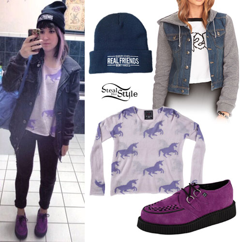 Mariel loveland unicorn sweater outfit steal her style for Loveland tattoo shops