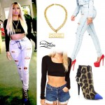 Nicki Minaj: Destroyed Jeans, Leopard Boots