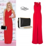 Pixie Lott: Red Split Maxi Dress