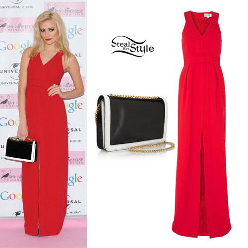 Pixie Lott: Red Split Maxi Dress