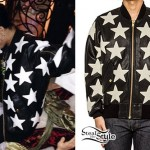 Rihanna: Star Print Leather Jacket
