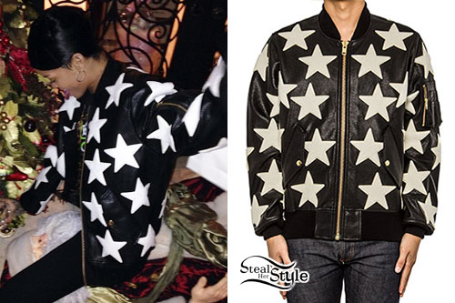 5ce371e14eae Star Print Leather Jacket