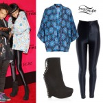 Willow Smith: Blue Print Kimono, Disco Pants