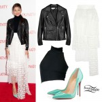 Zendaya: Dot Tiered Skirt, Mint Pumps