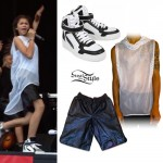 Zendaya: Mesh Hoodie, Leather Shorts