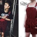 Zendaya: Red & Black Striped Overalls