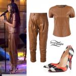 Zendaya: Tan Leather Tee & Pants