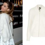 Ariana Grande: White Fuzzy Cardigan