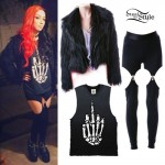 Ash Costello: Fuzzy Jacket, Garter Leggings