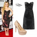 Avril Lavigne: Metallic Strapless Bow Dress