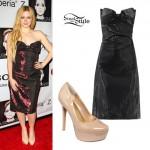 Avril Lavigne: Metallic Strapless Bow Dress