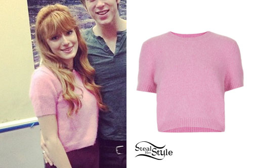 Bella Thorne: Pink Short Sleeve Sweater | Steal Her Style