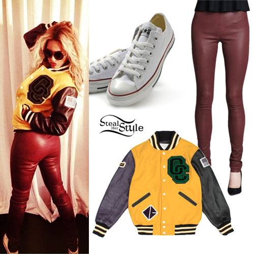 Beyonce: Varsity Jacket, Leather Leggings