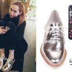 Brandi Cyrus: Silver Oxford Shoes