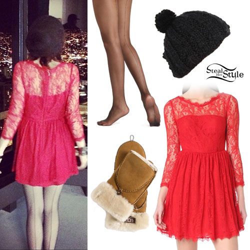 Carly Rae Jepsen: Red Lace Dress Outfit
