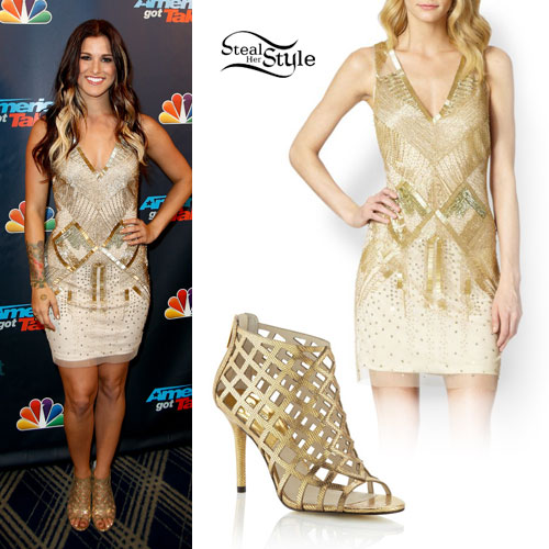 Cassadee Pope Gold Dress Caged Sandals Steal Her Style