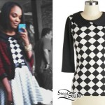 China McClain: Checkerboard Collared Top
