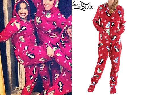 Demi Lovato: Christmas Print Onesie | Steal Her Style