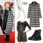 Hayley Williams: Long Plaid Coat Outfit