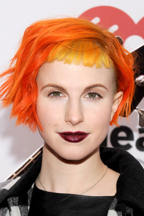 Hayley Williams Wavy Orange Baby Bangs Bob Colored Bangs