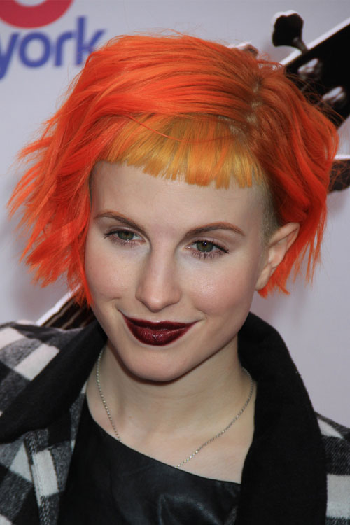 Hayley Williams Wavy Orange Bob Colored Bangs Side Part