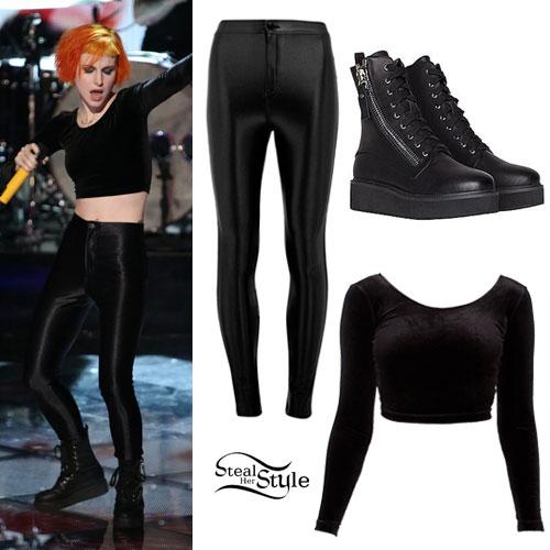 Hayley Williams: Velvet Crop Top, Disco Pants
