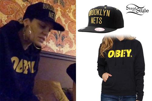 Jessie J: Brooklyn Hat, Obey Hoodie