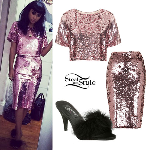 Natalia Kills: Pink Sequin Tee & Skirt