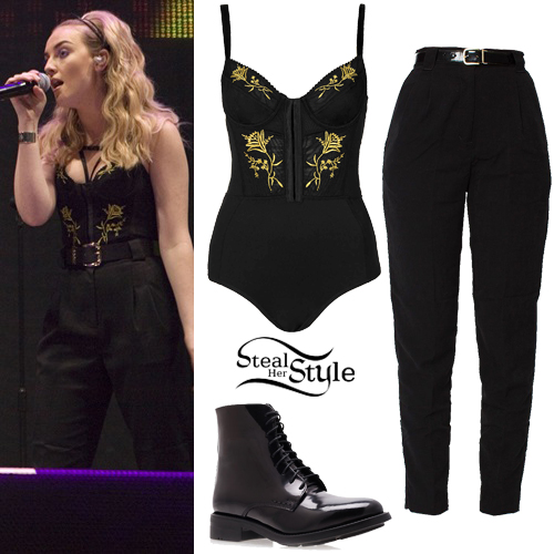 perrie edwards embroidered body outfit steal her style