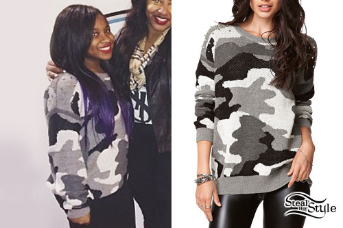 Reginae Carter: Gray Camouflage Sweater