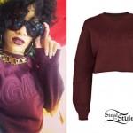 Rihanna: Burgundy G4LIFE Sweater