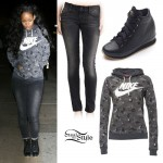 Rihanna: Camo Hoodie, Wedge Sneakers