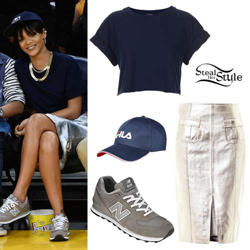 fila outfits. Rihanna At A Lakers Game In Los Angeles - Photo: Rihannadaily Fila Outfits