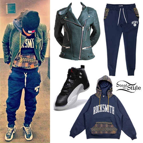 Teyana Taylor: Green Biker Jacket, Aztec Sweats